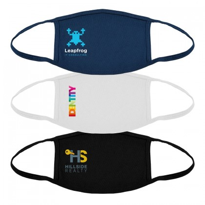 Custom Logo 100% Cotton Value Reusable Masks - Full Color Imprint