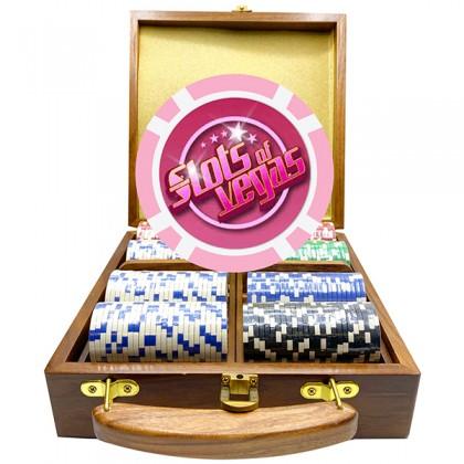 200 Walnut Luxury Custom Poker Chip Set - Walnut Wood Case