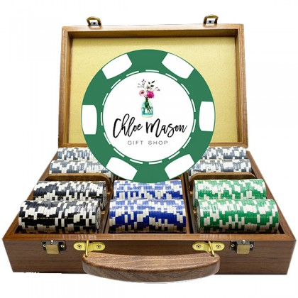6 Stripe Walnut Luxury Custom Poker Chip Set - Walnut Wood Case