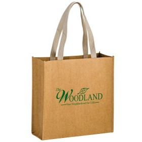 Washable Natural Kraft Paper Tote Bag w/ Web Handle - Tidal Wave