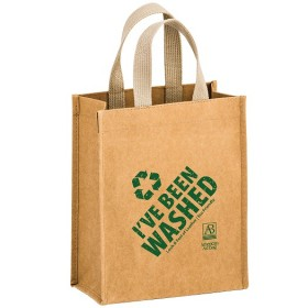 Washable Natural Kraft Paper Tote Bag w/ Web Handle - Cyclone