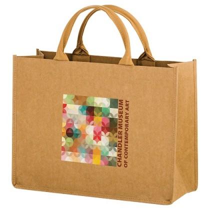 Full Color - Natural Kraft Paper Tote Bag w/ Web Handle - Hurricane