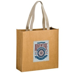 Full Color Washable Natural Kraft Paper Tote Bag - Tidal Wave