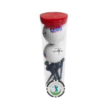 Custom Golf Ball Tube w/ Poker Chip Marker - 29PC