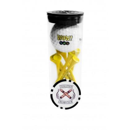 Custom Golf Ball Tube w/ Poker Chip Marker - 19PC