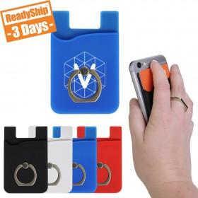 Custom Logo Mobile Wallet w/ Ring Phone Grip